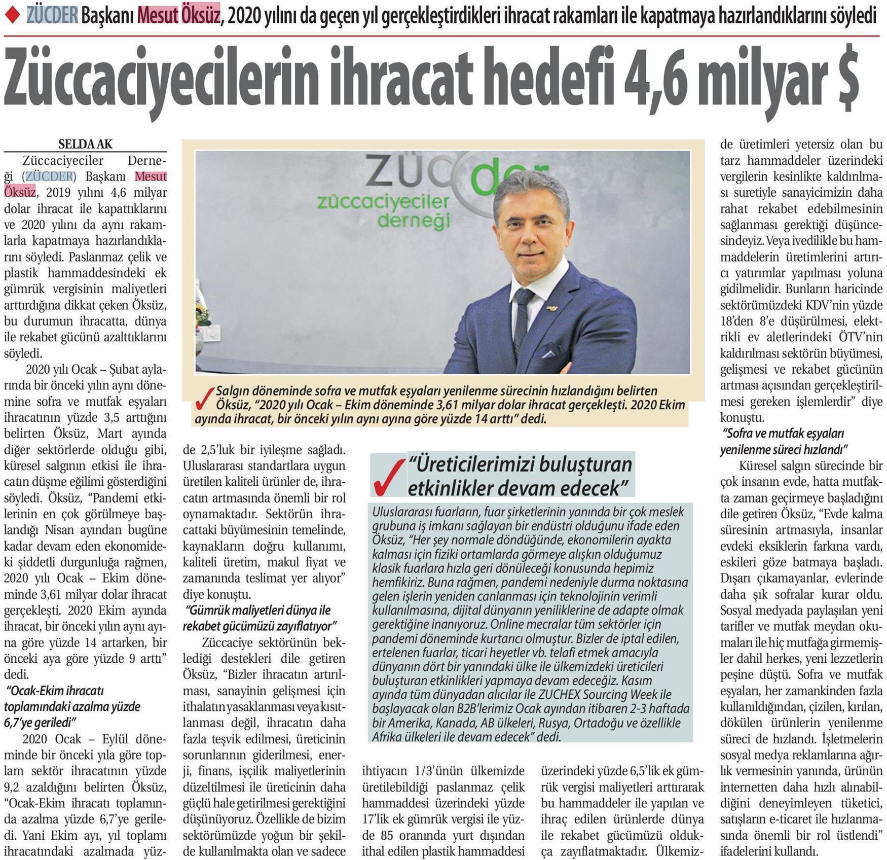 ZÜCDER TİCARET GAZETESİ 23.11.2020